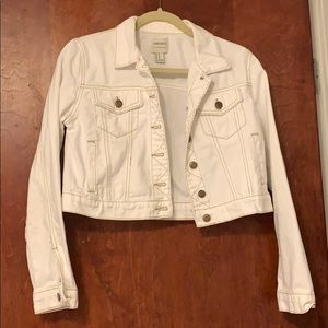 Forever 21 white jean jacket w/ brown stitching